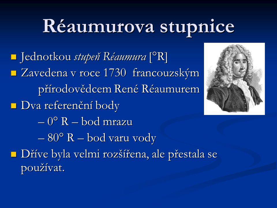 Réaumurova stupnice Jednotkou stupeň Réaumura [°R]